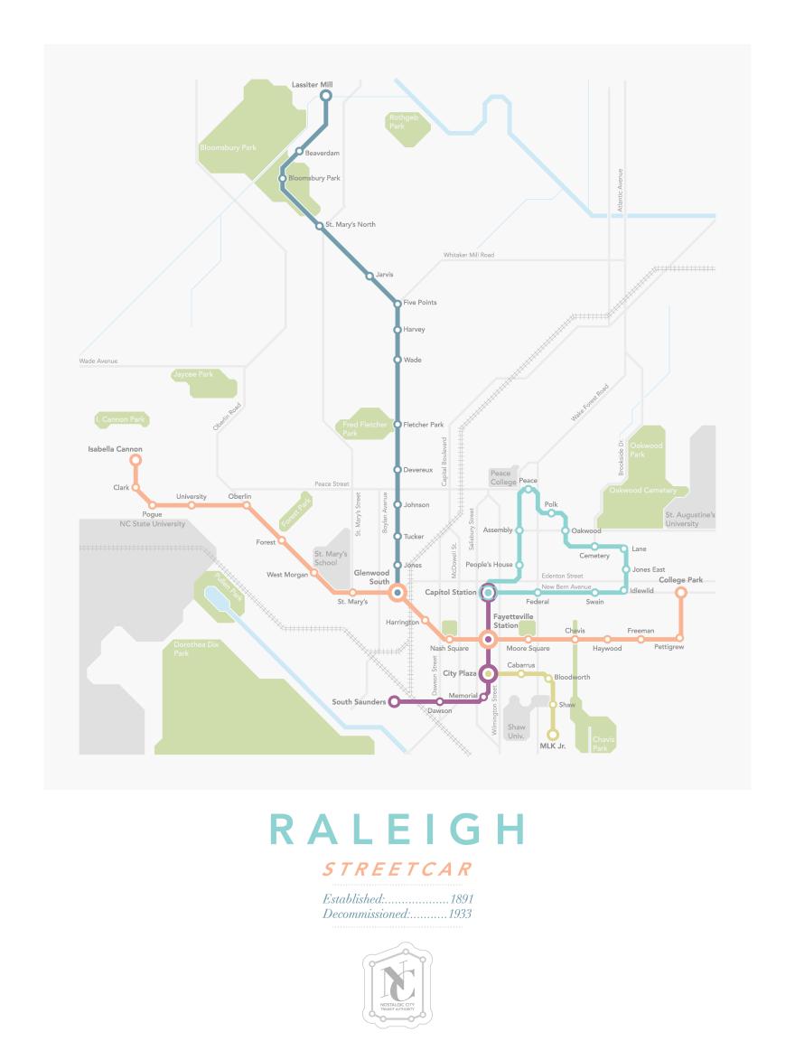 Raleigh Streetcar Map